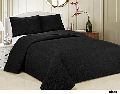 Royal Home Decor 3-pc Bedspread Set with Geometry Pattern (Queen, Black)