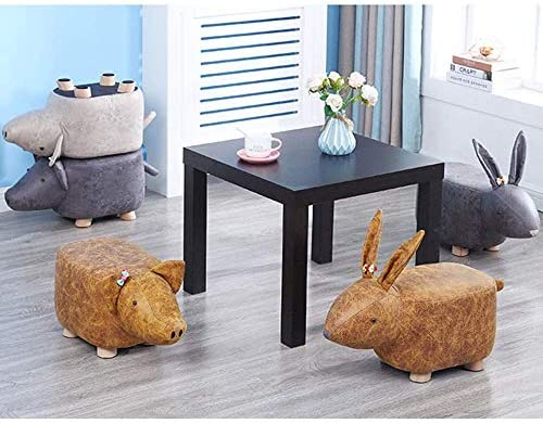 Children's Ottomans Footstools Children's Gift Cartoon Solid Wood Stool Animal Stool, Small Floral Decoration, Pig Home Shoe Bench Sofa Stool (Size : E)