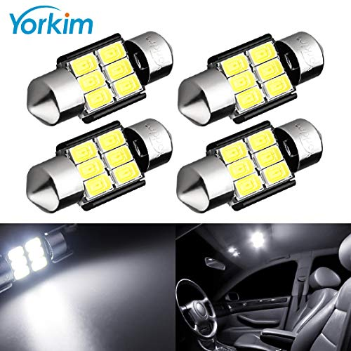 (Yorkim 31mm Festoon LED Bulbs White Super Bright LED Interior Car Lights Error Free CANBUS 6-SMD 5730 Chipsets, DE3175 LED Bulb, DE3022 LED, 3175 LED Bulbs - Pack of 4)
