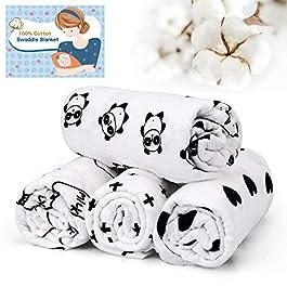 IEOKE Baby Blanket Swaddle Blanket 0-6 Months Unisex, 100% Soft Cotton,120cm x 120cm (47 Inch x 47 Inch), 4 Pack Newborn Essentials