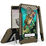 GB Military Grade Shockproof Hybrid Cover Dual Layered Case w/Kickstand Compatible with Samsung Galaxy J7 2018 / J7 Star / J7 Crown / J7 2nd Gen / J7 Refine / J7 Top - Trout Fishing