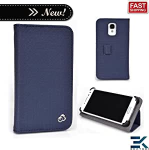 [M Smart Accord] T-Mobile myTouch 4G Slide Phone Case with Stand - BLUE | Universal Mobile Book Folio Cover. Bonus Ekatomi Screen Cleaner