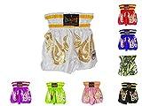 Kids Thai Kickboxing Shorts Trunks Junior Children Training Punching Sparring Clothing MMA (White, XS)