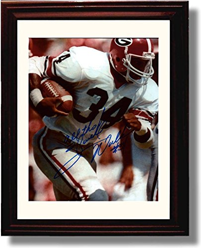 Football Herschel Walker - Framed Georgia Bulldogs Herschel Walker Closeup Autograph Replica Print