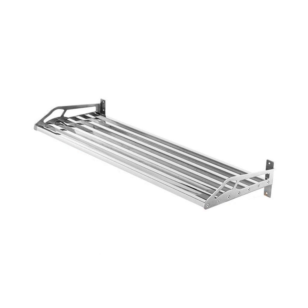 Kitchen Microwave Oven Racks Stainless Steel Thick Wall-Mounted Single Layer Hole Square Tube Storage Shelf Space Saving Bathroom (60cm,80cm) (Size : 60CM)