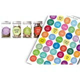 #1 BEST Spice & Herb Jar Labels, Set of 96 Including BONUS 12 Blank Labels Suitable for the Most Unique Pantry & Organized Kitchen, Designed & Printed in the USA, (Multi-Color)