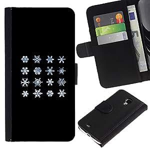 Stuss/funda de piel sintética Caso - comparación ciencia invierno - Snowflake Samsung Galaxy S4 Mini i9190