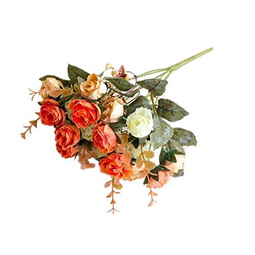 Connoworld--1 Bouquet Artificial Plastic Rose Flower Plant Home Office Shop Decoration - Sunset Red