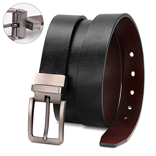 Reversible Leather Belts for Women with Rotated Metal Buckle 1.1in Black/Brown Women Narrow Jeans Belt Christmas Gift Box (Fit waist 44-48in, 00Black/Brown)