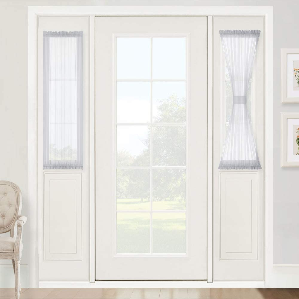 RYB HOME Window Treatments for French Doors - Privacy Sheer Sidelight Panels Glass Door Curtains for Entry Door Front Door Foyer Window Blinds, 2 Ropes, 2 Panels, 30 x 40, Dove Grey