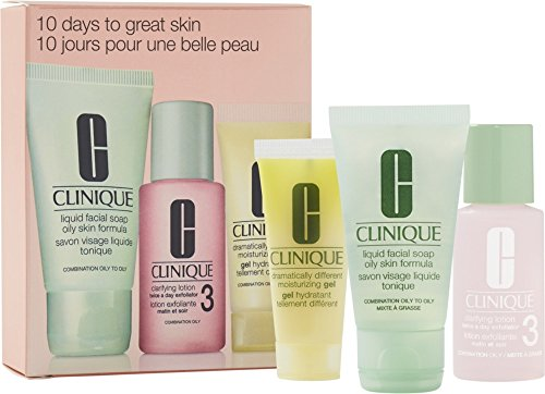Clinique 10 Days to Great Skin Set: Liquid Facial Soap Oily Skin Formula + Clarifying Lotion Twice a Day Exfoliator 3 + Dramatically Different Moisturizing Gel