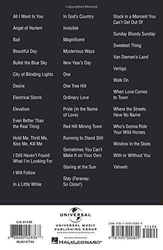Amazon U2 Guitar Chord Songbook 9781495000829 U2 Books