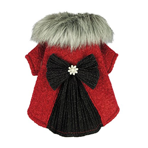 Diva Dog Clothes - Fitwarm Faux Furred Pet Clothes for Dog Winter Coats Cat Jackets Red Medium