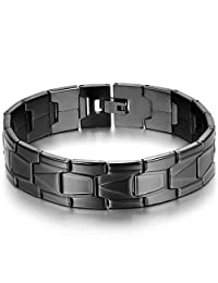 JewelryWe Men's Stainless Steel Bracelet Link High Polishing Classic Cuff Bangle(Black color) Valentine's Day Gift
