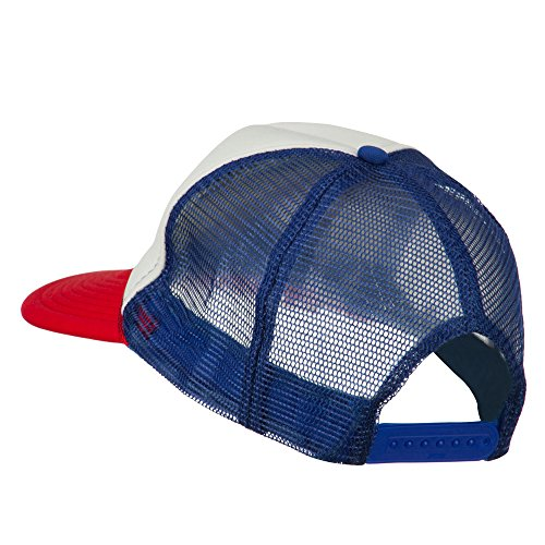 Number 1 Dad in the World Embroidered Foam Mesh Back Cap – Red White Royal OSFM