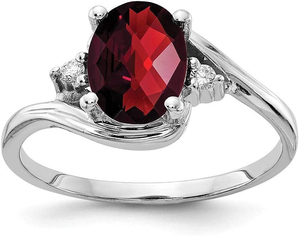 VS2 clarity, G-I color Jewelry Adviser Rings 14k White Gold 8x6mm Oval Garnet VS Diamond ring Diamond quality VS