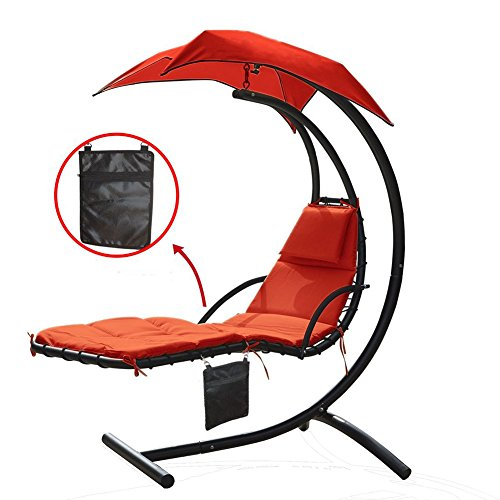 300lbs Weight Capacity Hanging Chaise Lounger Chair with Umbrella Garden Air Porch Arc Stand Floating Swing Hammock Chair with a zippered poly bag (Large Hanging Capacity Vinyl)