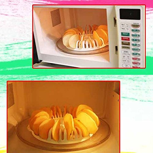 Everpert Potato Chips Baking Tray DIY Low Calories Microwave Oven Fat Free Potato Chips Maker Home