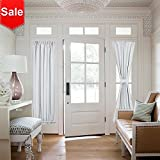 NICETOWN Room Darkening French Door Curtains - Room Darkening Patio Door Thermal Curtain Panels, Sidelights Door Panels 25 inches W x 72 inches L - Greyish White, Tie Back Included (2 Panels)