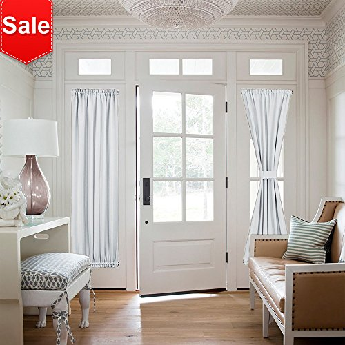 NICETOWN Room Darkening French Door Curtains - Room Darkening Patio Door Thermal Curtain Panels, Sidelights Door Panels 25 inches W x 72 inches L - Greyish White, Tie Back Included (2 Panels) (Curtains Panel Window Side Door)