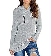 KIRUNDO 2021 Women's Sweatshirts Long Sleeve Pullover Zipper Cowl Neck Tie Dye Tunic Sweatshirt J...