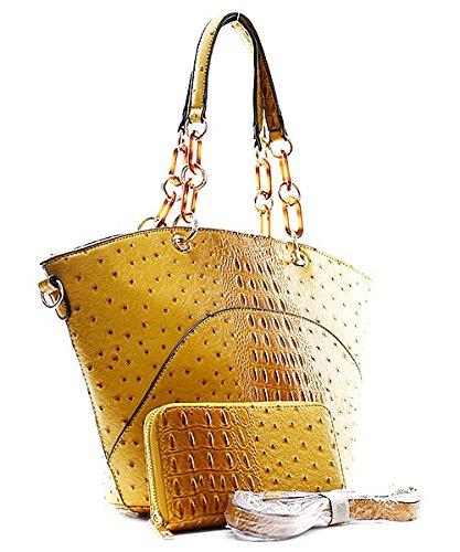 Handbag Inc Ostrich Vegan Leather Hobo Shoulder Handbag and Wallet (Black) by Handbag Inc (Image #2)