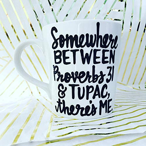 Somewhere between Proverbs 31 Mugs- Coffee- Stocking Stuffer- Pick Me Cups ()