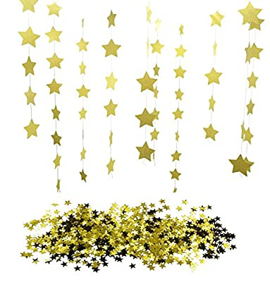 KaLuc 26ft (8 Mts) Sparkling Gold Star Garland Bunting and 1oz Metallic Golden Star Confetti
