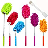 6 Pack Telescoping Microfiber Duster, 12-30 inch 90°Flexible Extendable Retractable Duster, for Home Office Car Dust Cleaning