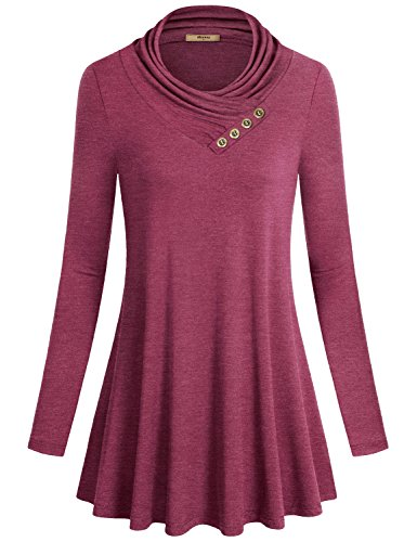 Miusey Form Fitting Shirts for Women, Women's Long Sleeve Cowl Neck Loose Fit Casual Tunic Top Red Large