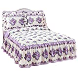 Lilac Beauty Quilt Top Bedspread with Ruffle Skirt, Multi, Full