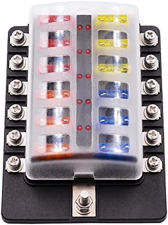 fuse blocks & fuse holders amazon com electrical fuses Automotive Fuse Box faylapa blade fuse box 12 way blade fuse holder block with led warning light for automotive automotive fuse box