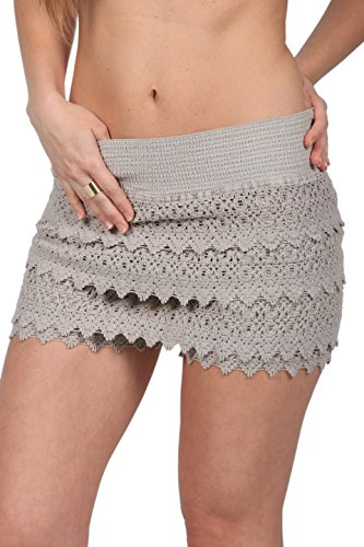 M&B USA Cotton White Women's Crochet Lace Shorts Beach Summer Miniskirts (X-Large, Brown)