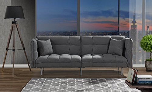 Divano Roma Furniture Collection - Modern Plush Tufted Velvet Fabric Splitback Living Room Sleeper Futon (Dark Grey)