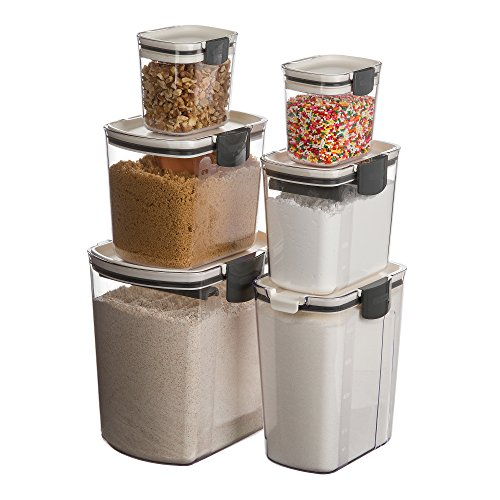 Prepworks by Progressive 6-Piece ProKeeper Set, Includes 1 of Each - Flour, Granulated Sugar, Brown Sugar, Powdered Sugar Keepers and 2 Mini Keepers, Food Storage Containers - Brown Baker Set