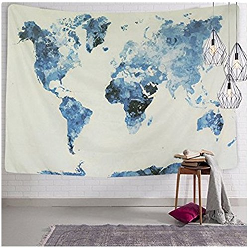 Watercolor World Map Tapestry Abstract Splatter Painting Wall Hanging Art for Home Decor (Large - 59.1