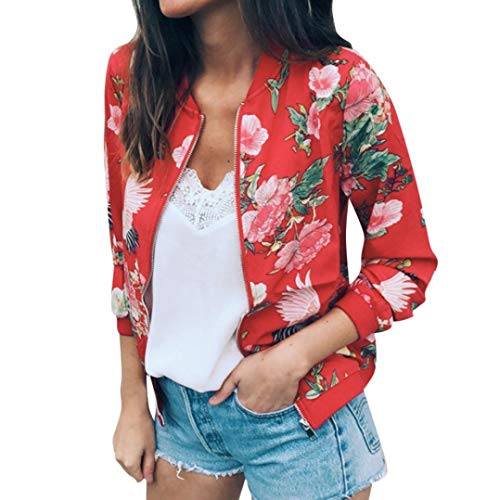iYYVV Womens Ladies Retro Embroidered Floral Zipper Up Bomber Jacket Casual Coat