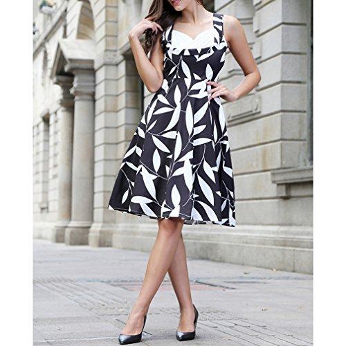 Honghu Verano Vintage Impresión Por la Rodilla Plisado Printing Vestido Casual para Mujer Negro