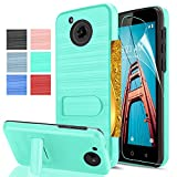 Moto E4 Case[Fit US variant (XT1768)] with HD Screen Protector,AnoKe[Card Slots Holder][Wallet] Kickstand Dual Layer Heavy Duty TPU Shockproof Protective Cases Cover for Motorola Moto E4 KC1 Mint