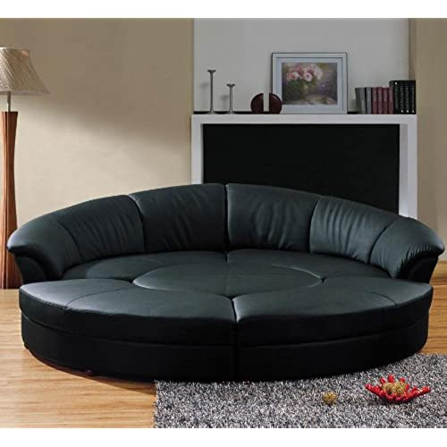 Gentil Vig Furniture Modern Black Leather Circular Sectional Sofa  Circle