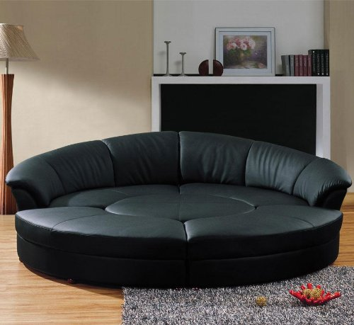 Vig Furniture Modern Black Leather Circular Sectional Sofa- Circle - Modern Round Sectionals Leather Sofa