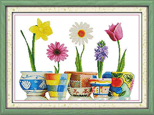 Cross Stitch Counted Kits Cross-Stitching Pattern for Home Decor, 14CT White Fabric Embroidery DIY Crafts Needlepoint Kit Colorful Life of Flowers -