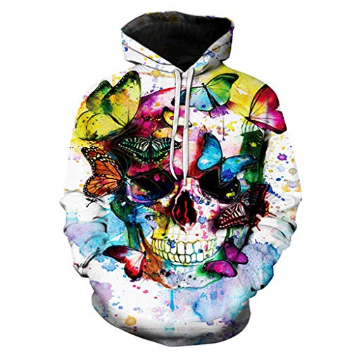 Couple Hoodie Sweatshirt Casual Scary Halloween Lover 3D Print Party Long Sleeve Hoodie Top Blouse (XL, White)