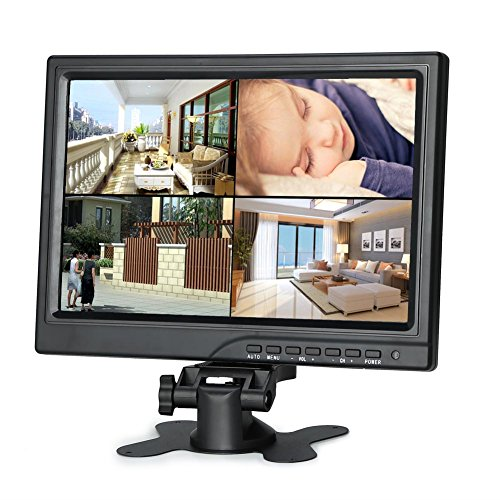 Koolertron 10.1 inch CCTV Monitor 1280 x 800 IPS LCD Monitor with HDMI VGA AV Port Support 1080P for DSLR/PC/CCTV Camera DVD Car Backup Camera Home Office Surveillance Secure System