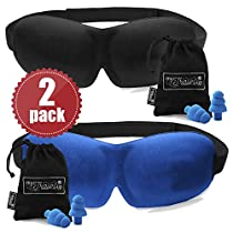 2 PACK - Luxuriously soft 3D SLEEP MASK, pleasant touch, PERFECT MAKE UP without defects and PAIR of HIGH FIDELITY EARPLUGS – give you a blissful SILENCE everywhere - MyTravelUp