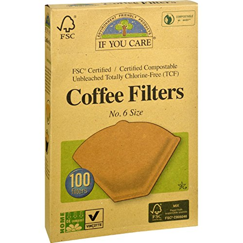 6 unbleached coffee filters - 6