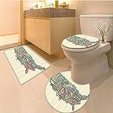 3 Piece Bath mat setWanderlust Collection Kuala Lumpur Malaysia City Skyline Klcc City Centre Park Shoppi Bathroom Rugs Contour Mat Lid Toilet Cover