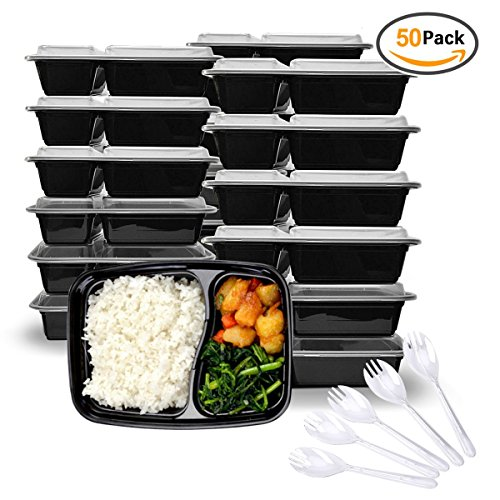 Pack of 1000ml,34oz Black Plastic Food Storage Containers with Fork Spoon and 2 Room,2 Separate Compartment with Clear Lids,Stackable&Reusable Lunch Boxes, Microwave/Dishwasher/Freezer Safe, (Food Fork)