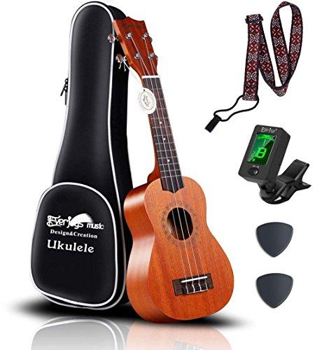 Mahogany Soprano Ukulele Starter Kit - Professional 21 inch w/Case Strap Tuner Aquila Strings (Light Mahogany)
