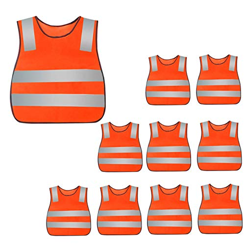 Kids 10 packs Reflective Safety Vest High Visibility Lightweight Outdoor Running Gear for Boys and Girls, Orange]()